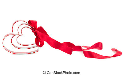 red hearts with ribbon isolated on white background