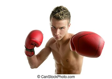 young shaped man boxing - Young shaped man boxing, isolated...