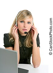 Blond businesswoman with laptop and microphone isolated on...