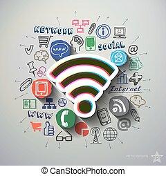 social, nätverk, collage, med, ikonen, bakgrund,