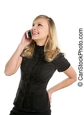 Blond beautiful woman talking with mobile phone, isolated on...