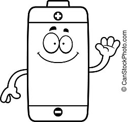 Cartoon Battery Waving - A cartoon illustration of a battery...