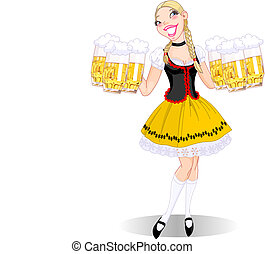 Oktoberfest girl - Vector illustration of funny German girl...