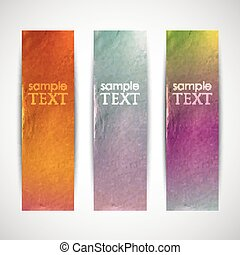multicolored banners with cardboard texture