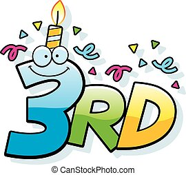 Cartoon 3rd Birthday - A cartoon illustration of the text...