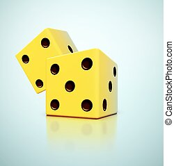 Yellow Dices - Two yellow dices, eps 10
