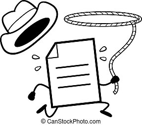 Cartoon File Wrangling - A cartoon illustration of a file...
