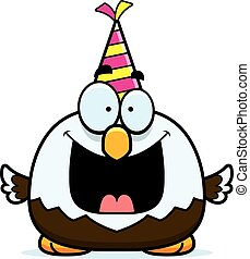 Cartoon Bald Eagle Birthday Party - A cartoon illustration...
