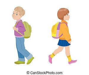 Children going to school - Vector illustration of a children...