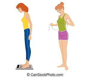 Two girls on white - Vector illustration of a two girls on...