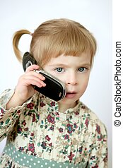 Funny toddler girl talking mobile cell phone - Funny toddler...
