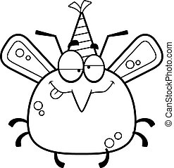 Cartoon Mosquito Drunk Party