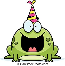 Cartoon Frog Birthday Party - A cartoon illustration of a...