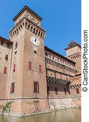 Estense Castle Ferrara Emilia-Romagna Italy - Clock on...