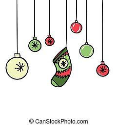 Hand drawn New Year and Christmas background - Hand drawn...