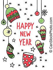 Hand drawn New Year sketch - Doodle New Year illustration...