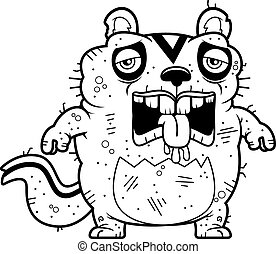 Cartoon Tired Ugly Chipmunk - A cartoon illustration of an...
