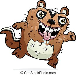 Cartoon Ugly Chipmunk Running - A cartoon illustration of an...