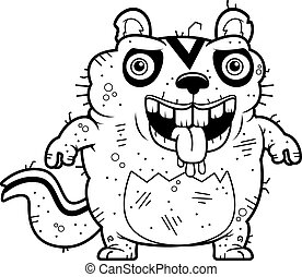 Cartoon Ugly Chipmunk Standing - A cartoon illustration of...