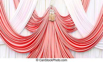 red and white curtain on stage for luxuary background