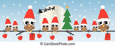 merry christmas happy holidays  header or banner owls
