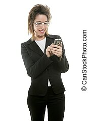 Businesswoman with mobile computer blackberry