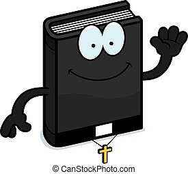 Cartoon Bible Waving - A cartoon illustration of a bible...