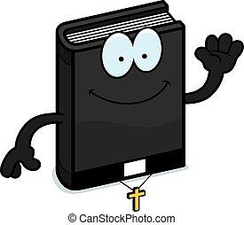 Cartoon Bible Waving - A cartoon illustration of a bible...