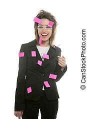 Businesswoman with multi task pink notes - Businesswoman...