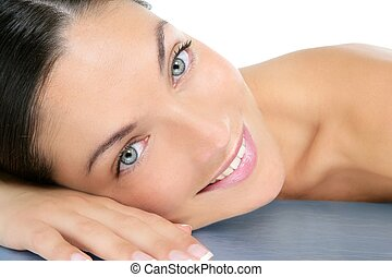 Beautiful clean cosmetics woman close up portrait over white...