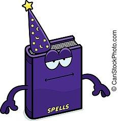 Cartoon Spell Book Bored - A cartoon illustration of a spell...