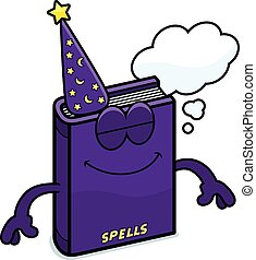 Cartoon Spell Book Dreaming - A cartoon illustration of a...