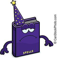 Sad Cartoon Spell Book - A cartoon illustration of a spell...