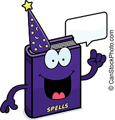 Cartoon Spell Book Talking - A cartoon illustration of a...