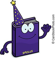 Cartoon Spell Book Waving - A cartoon illustration of a...