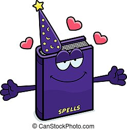 Cartoon Spell Book Hug - A cartoon illustration of a spell...
