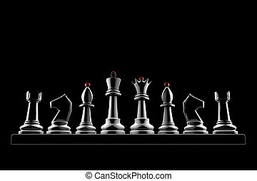 Strong team - Chess pieces on a black background 3d image of...