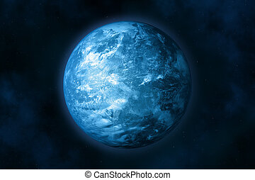 Earth (glacial period). - Planet earth in space. Stars and...