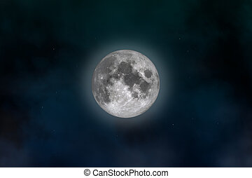 Full Moon - Space landscape: mysterious moon image created...