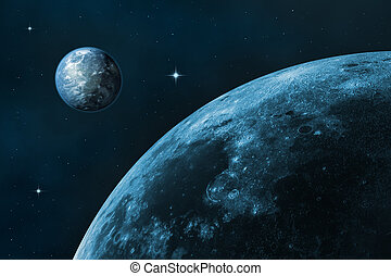 Moon and Earth - Space landscape earth and moon Blue starry...