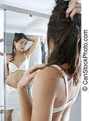 Beautiful sexy young woman posing mirror - Beautiful sexy...
