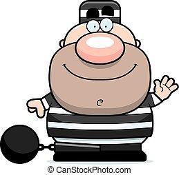 Waving Cartoon Prisoner - A cartoon illustration of a...