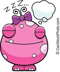 Cartoon Baby Girl Monster Dreaming
