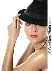 hermoso, rojo, labios, mujer, retrato, negro, sombrero