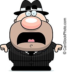 Scared Cartoon Mobster - A cartoon illustration of a mobster...