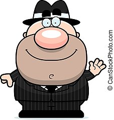 Waving Cartoon Mobster - A cartoon illustration of a mobster...