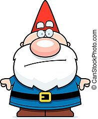 Cartoon Gnome Bored - A cartoon illustration of a gnome...