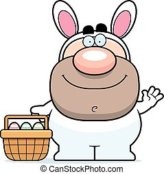 Waving Cartoon Easter Bunny - A cartoon illustration of the...