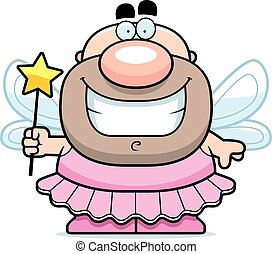 Smiling Cartoon Tooth Fairy - A cartoon illustration of the...