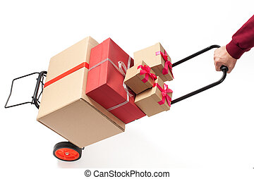 Hand Truck with Present Boxes - Hand truck - cart with...
